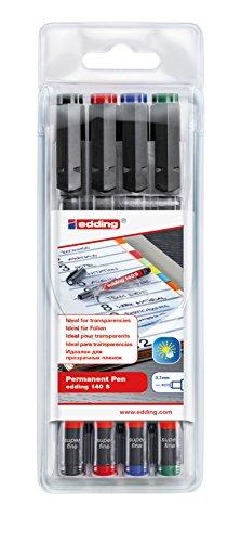 edding 140 S Permanenter Folienschreiber - 4er-Set - 4 bunte Farben - Rundspitze 0,3mm-zum Schreiben auf Glas Kunststoff Folien und glatten Oberflächen-permanent schnelltrocknend wisch- und wasserfest