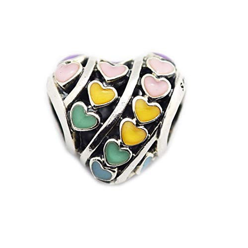 LILIANG DIY Cuentas De Corazón Calado De Colores Mezclados para Pulseras De Dijes Plata De Ley 925 Vintage Love Sign Charm Beads para Fabricación De Joyas
