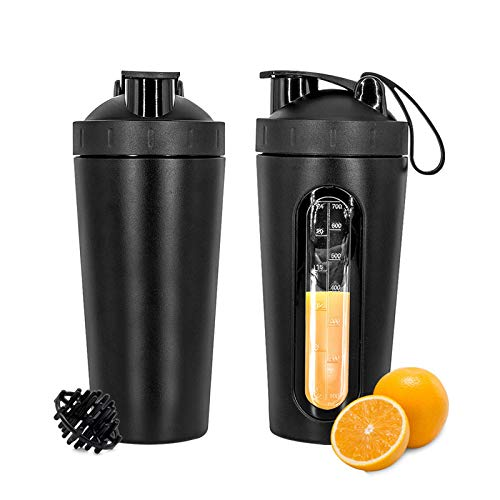 Yanhuang 28oz 800ml Stainless Steel Protein Shaker Bottle with Mixing BallLeakProof Visible Measuring WindowSafe BPA Free Blender Cup for Gym Workout Fitness