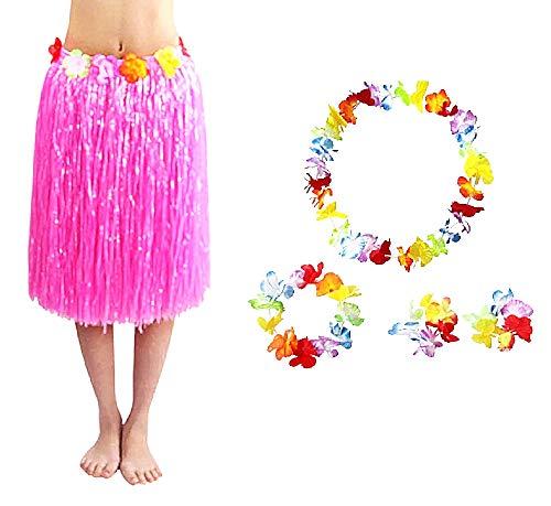 Inception Pro Infinite Falda Hawaiana - Hawaii - Falda - Corona - Collar - Moana - Pulseras - oceanía - vaiana - Disfraz - Accesorios - Halloween - Carnaval - Mujer - Mujer - Cosplay - Rosa - 60 cm