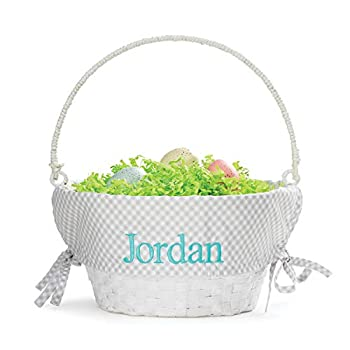 Personalized Planet Gray and White Liner with Custom Name Embroidered in Blue Thread on White Woven Spring Easter Basket with Collapsible Handle for Egg Hunt or Book Toy Storage