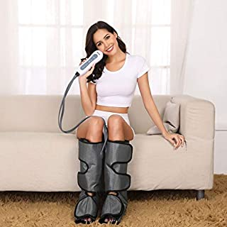 Leg Massager Air Compression- Upgrade Leg Compression Wraps for Foot and Calf Circulation for Pain Relief and Muscle Relaxing with Handheld Controller by Silvox (Grey)