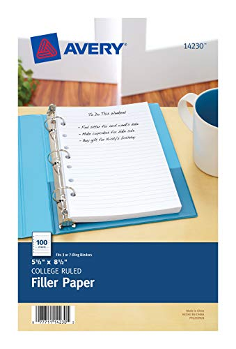 Avery Mini 5-1/2' x 8-1/2' Binder Filler Paper , Case Pack of 6 (14230)