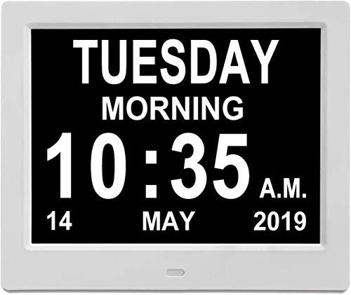 Digital Clock Dementia Clocks 8' Auto Dimming Large HD Display Calendar Day Date Clock Memory Loss 5 Alarm Clock Digital Photo Frame Large Letter LED Time Date Month Year Medicine Reminder White