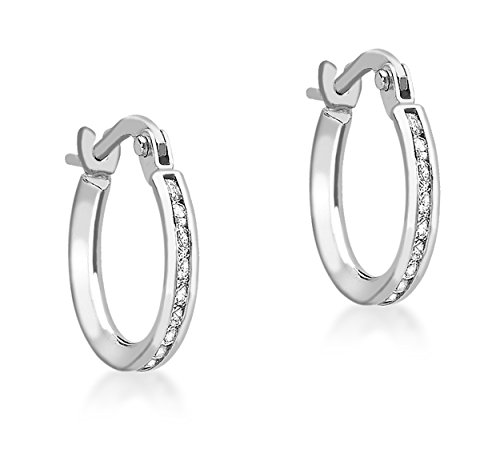 Carissima Gold Women's 9 ct White Gold Cubic Zirconia Band 13 mm Creole Earrings