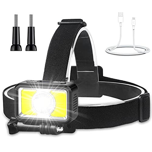 Avaspot Linterna Frontal LED Luz de Pecho, 7 Modos 1000 Lúmenes USB Recargable Ligero Impermeable Linterna Cabeza, Ideal para Adultos y Niños Camping Pesca Ciclismo Correr Trotar