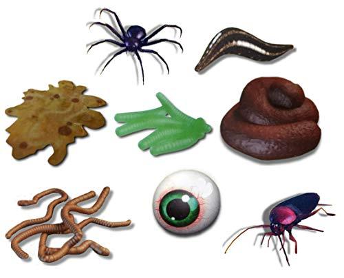 Shockerz! Scherzartikel 8er Set (Spinne, Blutegel, Ekel-Kotze, Maden, Kacke, Würmer, Glibberauge, Kakerlake)