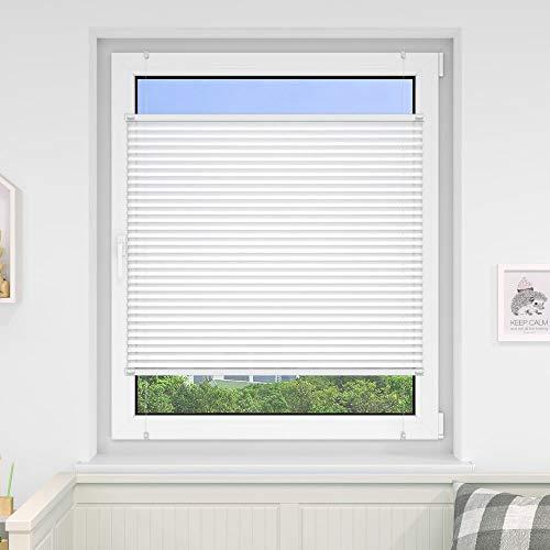 Victoria M. Indiva Lite Plissee-Rollo ohne Bohren 35 x 100 cm, Hochwertiges Scheibenrollo Plissee Faltrollo mit Klemmträger für Fenster und Türen Sichtschutzrollo Klemm-Rollo weiß