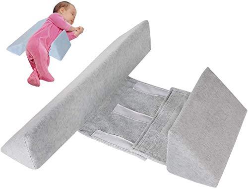 Almohada Ajustable para Dormir en el Lado del Bebé, Cuña de Apoyo para Recién Nacidos, Cojín Antivuelco para Bebés, Almohada de Leche Antiesperma con Cremallera Oculta (Gris)