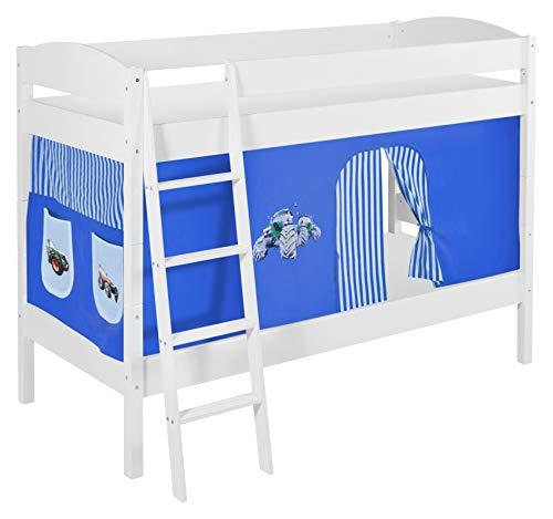 Lilokids Etagenbett IDA 4105-Teilbares Systembett mit Vorhang und Lattenroste Kinderbett, Holz, weiß, 208 x 98 x 150 cm