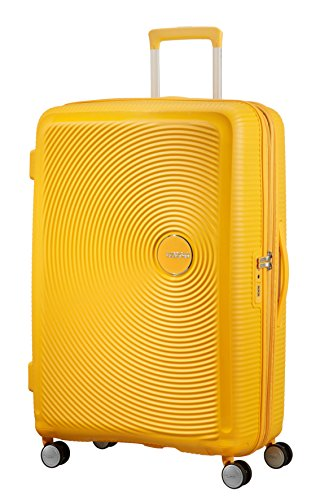 American Tourister Soundbox Spinner Espandibile Bagaglio A Mano, 77 cm, 97/110 L, 4.2 Kg, Giallo (Golden Yellow)