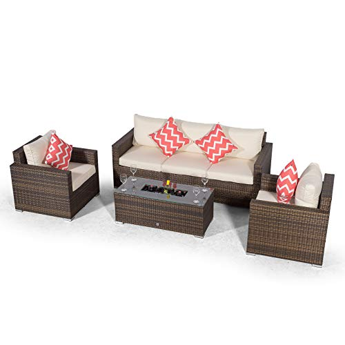 Giardino Sydney 5 Seater Brown Rattan Conversation Sofa Set with 3 Seat Sofa, 2 x Armchairs & Drinks Cooler Coffee Table | 5 Seat Rattan Garden Sofa Set with All Weather Furniture Covers