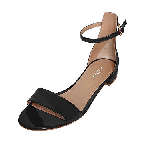 YDN Womens Chic Block Low Heel Sandals Open Toe Ankle Strap Patent Comfortable Walking Dress Flat Shoes Black 7