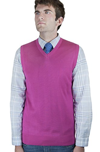 Blue Ocean Solid Color Sweater Vest Hot Pink XX-Large