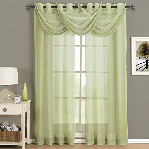 Royal Hotel Abri Spring-Green Grommet Crushed Sheer Curtain Panel, 50x96 inches