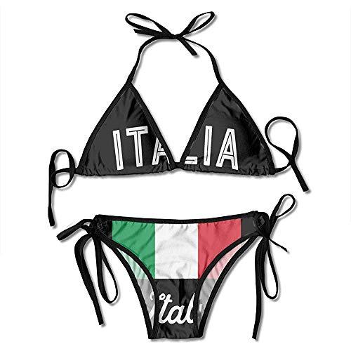 Zweiteilige Bikini,Badeanzug,Bikini Set,Badeanzüge,Damen Badeanzug,Bademode,Schwimmanzug,Italien Fahnendruck Bikini Set Fashion Sexy Womens Einstellbare Beachwear Badeanzug