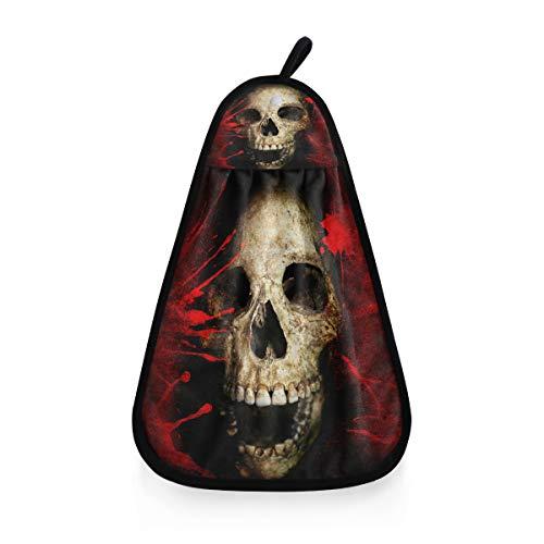 ALARGE Handtrockenes Handtuch Vintage blutige Halloween-Totenkopf-Schnelles Trocknen Aufhängende Krawatte Gesicht Handtuch Waschlappen Waschlappen Home Küche Bad Reinigungstücher
