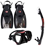 TUSA Sport Adult Powerview Mask, Dry Snorkel, and Fins Travel Set, Large, Black/Red