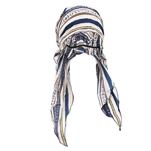 P Prettyia Sombrero de Quimio Cáncer de Algodón. Pañuelo Turbante de Cabeza de Cola Larga para Quimioterapia Oncológico Noche Pèrdida de Pelo