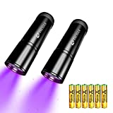 TICOZE UV Flashlight Black light 2 Pack 12 LEDS 395nM Blacklight Detector for Dog Urine Pet stains, Scorpion with 6 pcs AAA Batteries