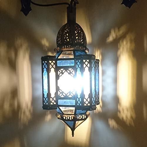 Lanterne marocaine en plusieurs couleurs 72 cm | Photophore oriental | Lanterne métallique marocaine comme lanterne de jardin, ou à l'intérieur comme lanterne de table Oriental bleu