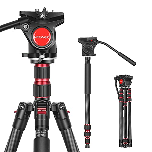 Neewer 2-in-1 N55CL Kohlefaser Kamera Stativ Einbeinstativ, max.200 cm Kamera Videostativ mit 1/4 und 3/8 Zoll Schrauben Fluid Schwenk Kopf für DSLR-Kameras, Videokamera, belastbar bis zu 22 Pfund