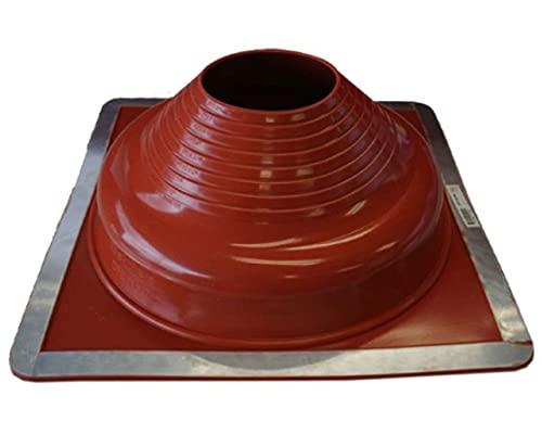 Dektite Premium #7 Red Silicone Metal Roof Pipe Flashing, High Temp, Square Base, Pipe OD 6' to 12'