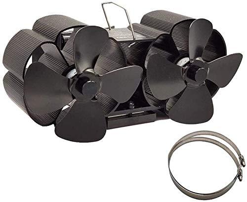 NAYY Twin Blade-Herd Ventilator, Holzofen Ventilator Wärme Powered- 8 Blade-Silent-Holzofen Fans - Small Size Quiet Feuer Fans for Kamine, Multi Brennstoff-Brenner - Speziell for großes Zimmer