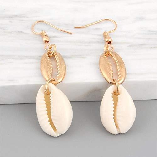 XCWXM Pendientes de Bohemia Pendientes de Concha de mar Pendientes Colgante de Oro Femenino Pendientes de Playa joyería femenina-E2570
