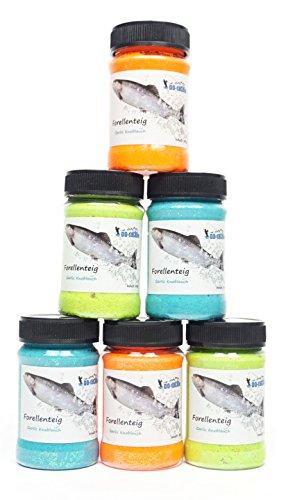 DD-Tackle NEU 80g Garlic Troutbait Glitter Knoblauch Forellenteig Forellen Köder Paste Angelteig Farbe nach Wahl Auswahl Farbwahl (Teigfarbe: Orange)