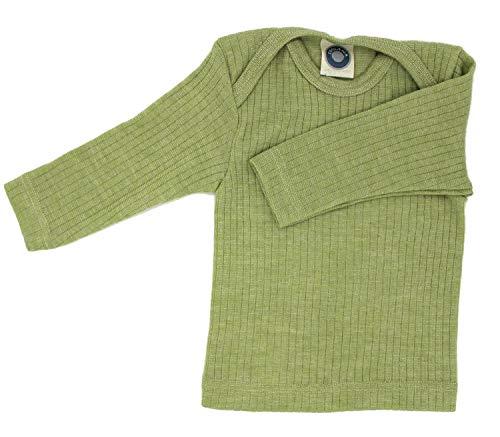 Cosilana Baby Schlupfhemd, Größe 74/80, Farbe Grün meliert - Exclusiv Wollbody®GmbH - Qualität 91 45% Baumwolle kbA, 35% Schurwolle kbT, 20% Seide