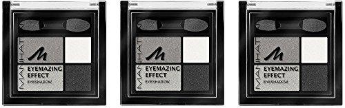 Manhattan Eyemazing Effect Eyeshadow – Schmink-Palette aus vier schimmernden Lidschatten-Farben für Smokey Eyes – Farbe Smokey Smile 109A – 3 x 5g