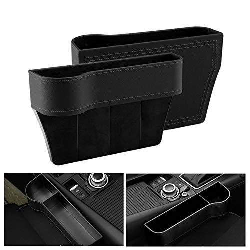 Surmounty Auto Aufbewahrungsbox mit Getränkehalter, 2Pcs Autositz Gap Aufbewahrungsbox Konsole Seitentasche, Universal Auto Seat Gap Organizer, Schwarz Autositz Becherhalter