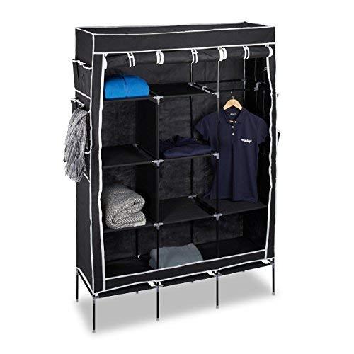Relaxdays Faltschrank VALENTIN groß H x B x T: ca. 179 x 124 x 42 cm Kleiderschrank mit 10 großen Fächern Wäscheschrank aus Stoff als Garderobenschrank und Campingschrank mit Kleiderstange, schwarz