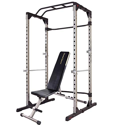 Fitness Reality 810XLT Super Max Power Cage | Optional Lat Pull-down Attachment and Adjustable Leg Hold-down | Power Cage with Weight Bench Combo