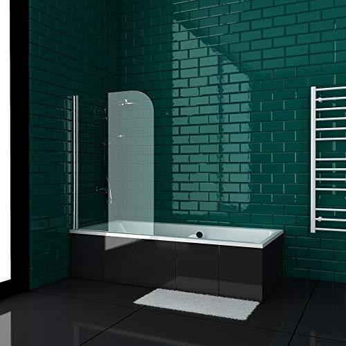 Alpenberger rechthoekige badkuip, 170 x 80 cm, set met badkuipopzet ESG-veiligheidsglas, helder helder licht 5 mm, acrylkuip met overloop, body vormbad | ligvlak 110 cm | met nano douchewand | modern 170x80
