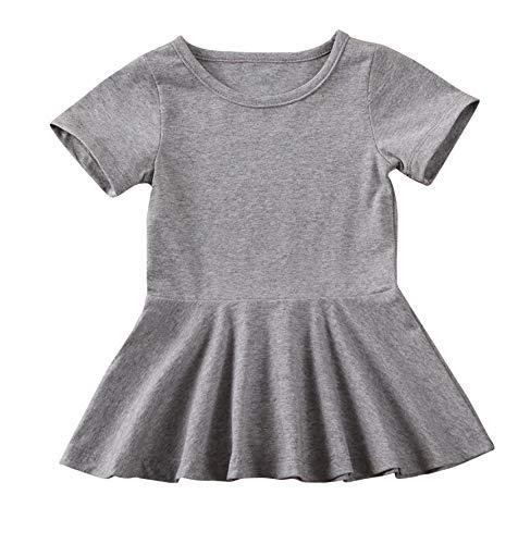 doublebabyjoy Summer Clothes Short Sleeve One-Piece Dress Ruffle Hem Short Skirt Solid Princess Dresses (Grey, 12-18 Months)