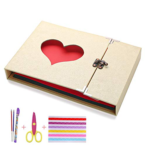 McNory Album DIY per Foto,Scrapbook,Sticker Diario Creativo con Incisione a Forma di Cuore,Wedding Anniversary,Birthday,Mother's Day,Valentine's Day Idea Regalo(Giallo)