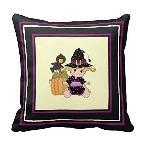 Nvfshreu Little Sweet Halloween Sorcière Robe Noire Pourpre Oreiller Simplicité Mode Simple Style Confortable Chic Usage Quotidien (Color : Colour, Size : Size)