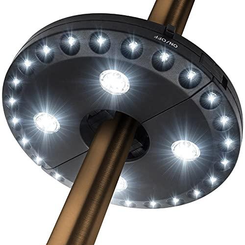 Patio Paraguas Light 3 Lightness Modes inalámbrico 28 LED Luces LED a 200 Lumens-4 x AA Funciona, Paraguas Pole Light para Patio Sopbrellas, Tiendas de campaña o Uso en Interiores