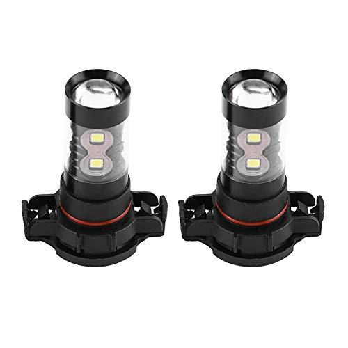 Qiilu 2 pièces H16 Ampoule de Brouillard de LED,12V-24V 50W Antibrouillard de voiture,Puissance élevée 10 LED Lumineuses Ampoules de jour 850LM 6500K