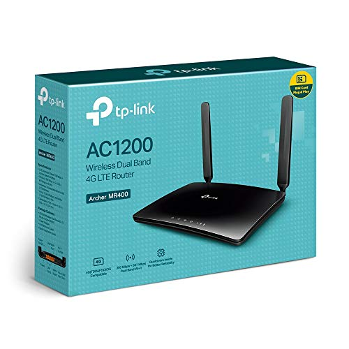 TP-Link Archer MR400 AC1200 Dualband 4G LTE WLAN Router (150 Mbit/s im Download, simultanes Dualband, 300 Mbit/s(2,4GHz) + 867 Mbit/s(5GHz), frei konfigurierbarer LAN/WAN-Port) schwarz