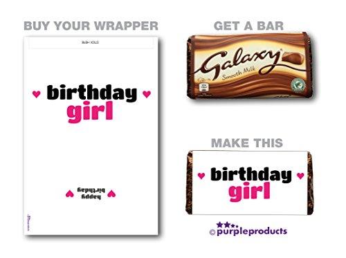Paarse producten Verjaardag Meisje Galaxy Chocolade WRAPPER Verjaardagscadeau. Alleen wikkelaar. Lees de beschrijving.