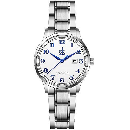 SK Relojes lassic Business para Mujer con Correa de Acero Inoxidable y Elegante Reloj con Calendario para Mujer (Arabic Number-Silver Steel Band)