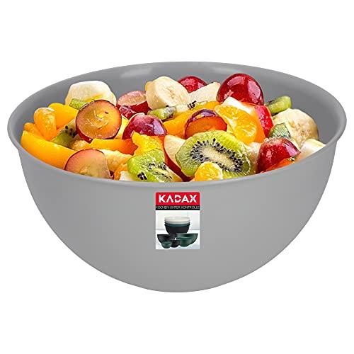 KADAX Schüssel aus Kunststoff, Salatschüssel, stapelbare Rührschüssel, Plastikschüssel, Küchenschüssel, runde Servierschüssel für Küche, Salat, Teig, spülmaschinenfest (3L, grau)