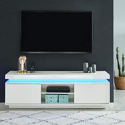 BAÏTA ULYSSE Meuble TV à LED, laqué Blanc Brillant, L150cm