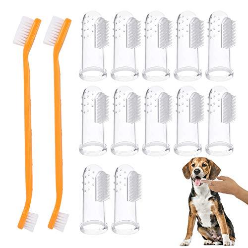 AirSMall 14PCS Cepillo de Dientes para Mascotas Cepillo de Dientes para Perros 12 Cepillo de Dientes de Silicona Suave con 2 Cepillo de Dientes de Mango Largo Cuidado para perros y gatos en Casa