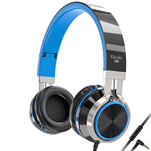 Elecder i39 Headphones with Microphone Foldable Lightweight Adjustable On Ear Headsets with 3.5mm Jack for Cellphones Computer MP3/4 Kindle School Blue/Black
