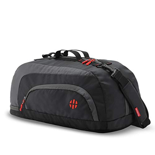 Harissons Jake Gym Bag, 31 L Duffel Bag with Shoe Compartment (Black, Grey)