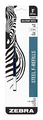 Zebra F-Series Ballpoint Stainless Steel Pen Refill, Fine Point, 0.7mm, Blue Ink, 1-Count